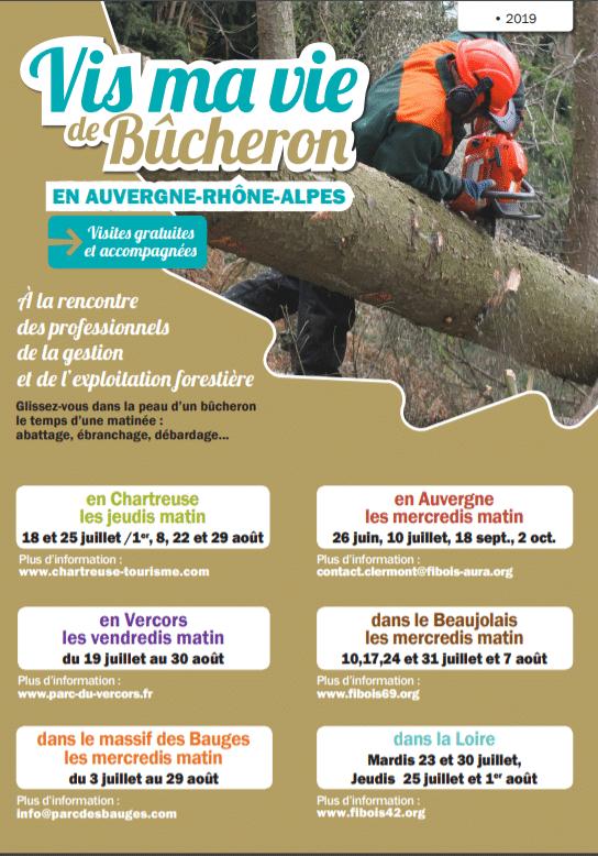 Affiche vis ma vie de bûcheron Auvergne-Rhône-Alpes 2020